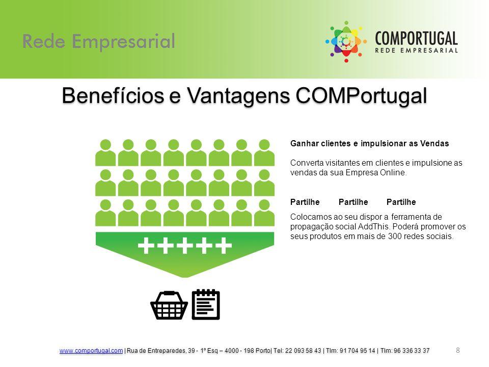 8 Benefícios e Vantagens COMPortugal Ganhar clientes e impulsionar as Vendas Converta visitantes em clientes e impulsione as vendas da sua Empresa Online.