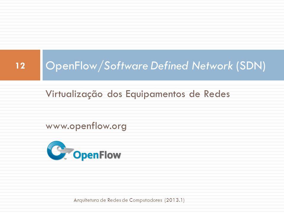 Virtualização dos Equipamentos de Redes www.openflow.org OpenFlow/Software Defined Network (SDN) 12 Arquitetura de Redes de Computadores (2013.1)