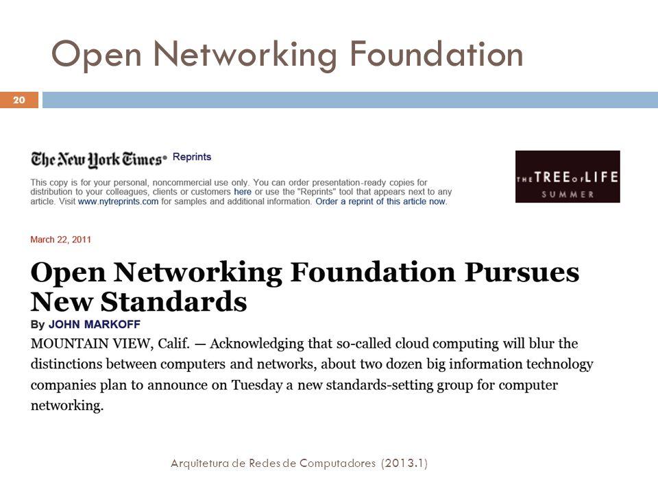 Open Networking Foundation 20 Arquitetura de Redes de Computadores (2013.1)