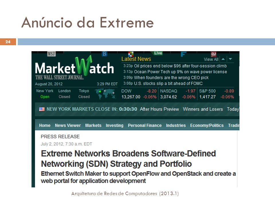 Anúncio da Extreme Arquitetura de Redes de Computadores (2013.1) 24