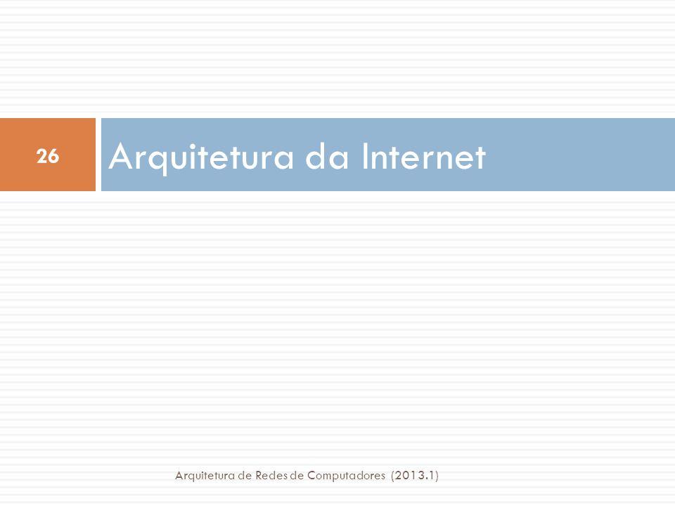 Arquitetura da Internet 26 Arquitetura de Redes de Computadores (2013.1)