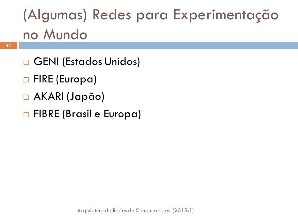(Algumas) Redes para Experimentação no Mundo GENI (Estados Unidos) FIRE (Europa) AKARI (Japão) FIBRE (Brasil e Europa) 41 Arquitetura de Redes de Computadores (2013.1)