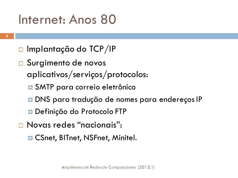 Internet: Anos 80 Implantação do TCP/IP Surgimento de novos aplicativos/serviços/protocolos: SMTP para correio eletrônico DNS para tradução de nomes para endereços IP Definição do Protocolo FTP Novas redes nacionais: CSnet, BITnet, NSFnet, Minitel.