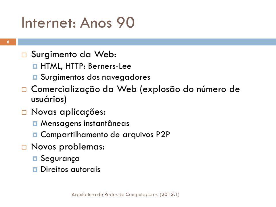 Internet: Anos 90 Surgimento da Web: HTML, HTTP: Berners-Lee Surgimentos dos navegadores Comercialização da Web (explosão do número de usuários) Novas aplicações: Mensagens instantâneas Compartilhamento de arquivos P2P Novos problemas: Segurança Direitos autorais 6 Arquitetura de Redes de Computadores (2013.1)