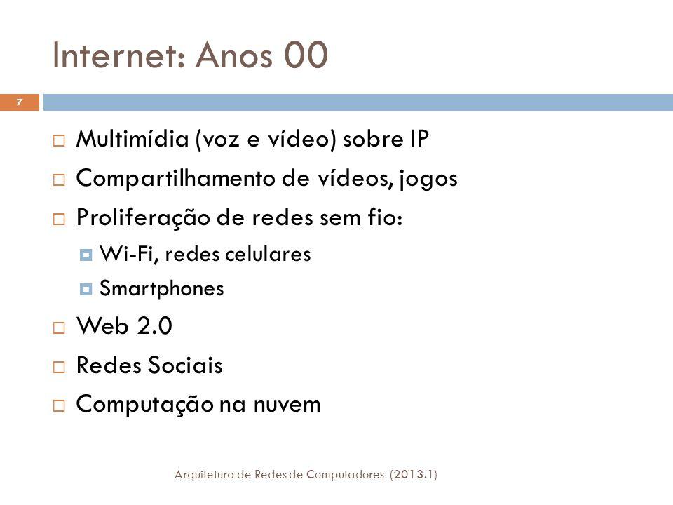 Internet: Anos 00 Multimídia (voz e vídeo) sobre IP Compartilhamento de vídeos, jogos Proliferação de redes sem fio: Wi-Fi, redes celulares Smartphones Web 2.0 Redes Sociais Computação na nuvem 7 Arquitetura de Redes de Computadores (2013.1)