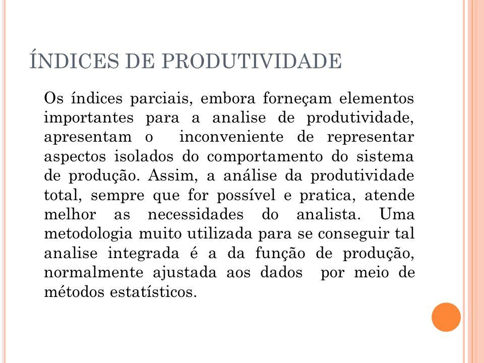 ÍNDICES DE PRODUTIVIDADE Os índices parciais, embora forneçam elementos importantes para a analise de produtividade, apresentam o inconveniente de rep