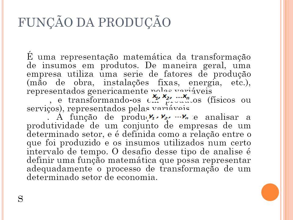 FUNÇÃO DA PRODUÇÃO É uma representação matemática da transformação de insumos em produtos. De maneira geral, uma empresa utiliza uma serie de fatores