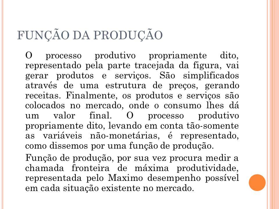 FUNÇÃO DA PRODUÇÃO O processo produtivo propriamente dito, representado pela parte tracejada da figura, vai gerar produtos e serviços. São simplificad