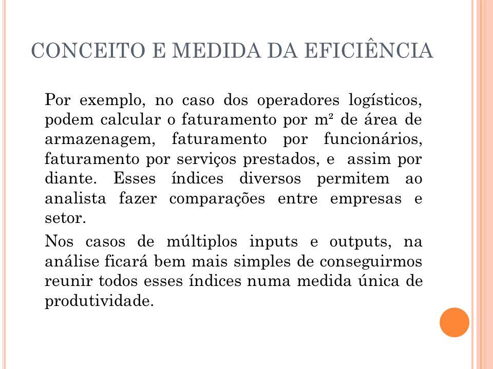 CONCEITO E MEDIDA DA EFICIÊNCIA Por exemplo, no caso dos operadores logísticos, podem calcular o faturamento por m² de área de armazenagem, faturament