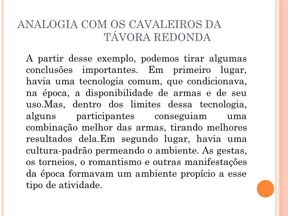 ANALOGIA COM OS CAVALEIROS DA TÁVORA REDONDA A partir desse exemplo, podemos tirar algumas conclusões importantes. Em primeiro lugar, havia uma tecnol