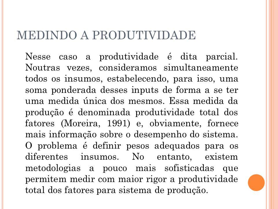ÍNDICES DE PRODUTIVIDADE É comum definir um ou mais índices de produtividade.