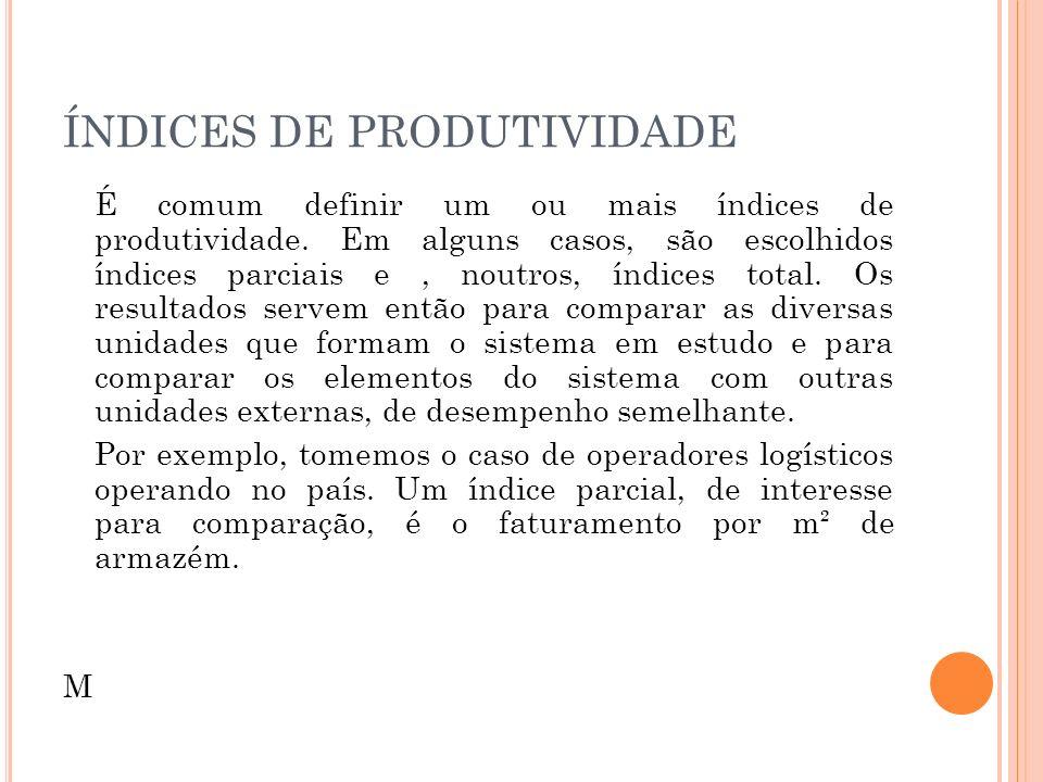 ÍNDICES DE PRODUTIVIDADE É comum definir um ou mais índices de produtividade. Em alguns casos, são escolhidos índices parciais e, noutros, índices tot