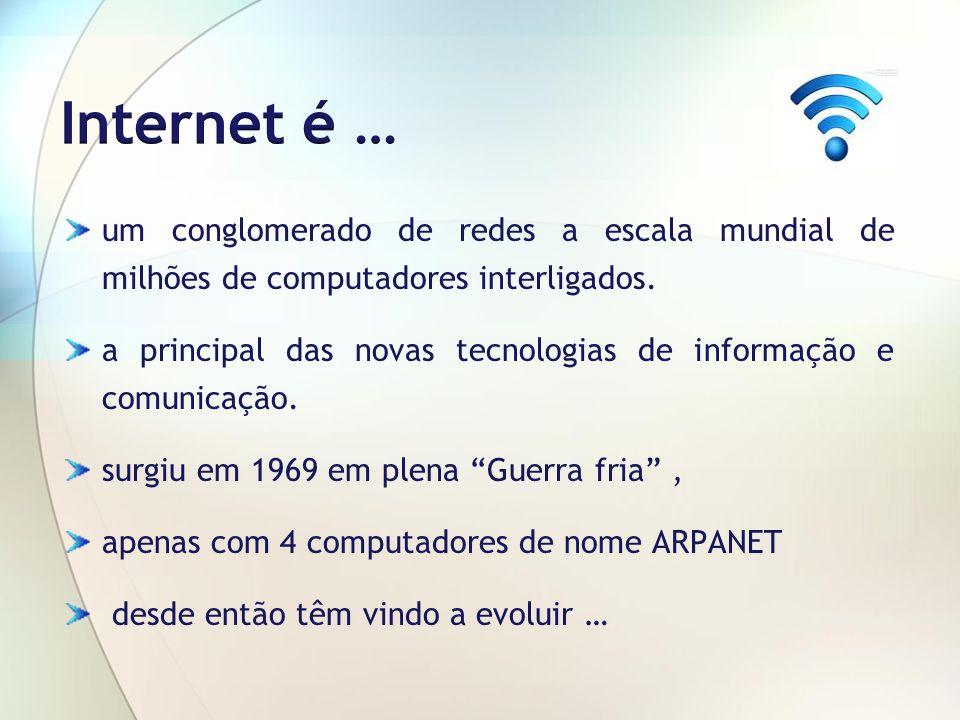 um conglomerado de redes a escala mundial de milhões de computadores interligados. a principal das novas tecnologias de informação e comunicação. surg