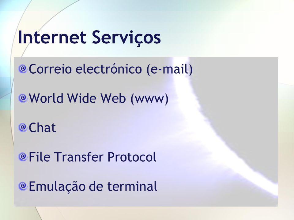 Correio electrónico (e-mail) World Wide Web (www) Chat File Transfer Protocol Emulação de terminal