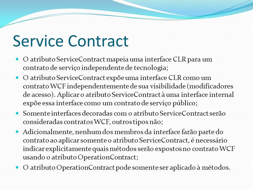 Service Contract O atributo ServiceContract mapeia uma interface CLR para um contrato de serviço independente de tecnologia; O atributo ServiceContrac