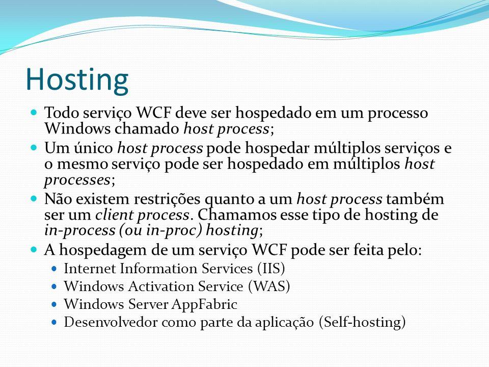 Hosting Todo serviço WCF deve ser hospedado em um processo Windows chamado host process; Um único host process pode hospedar múltiplos serviços e o me