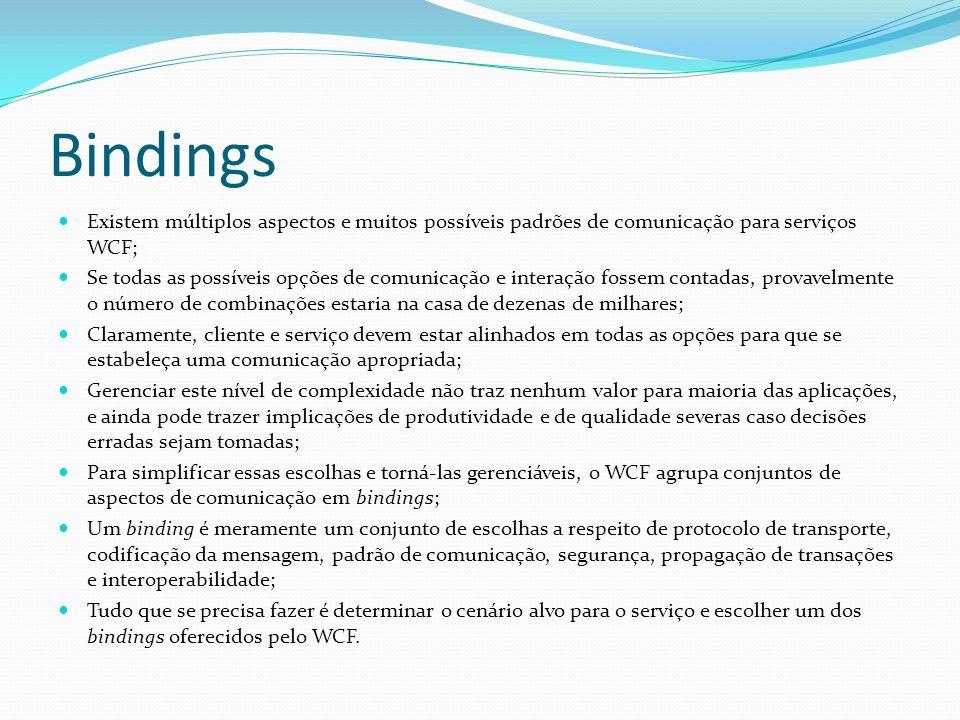 Bindings Existem múltiplos aspectos e muitos possíveis padrões de comunicação para serviços WCF; Se todas as possíveis opções de comunicação e interaç