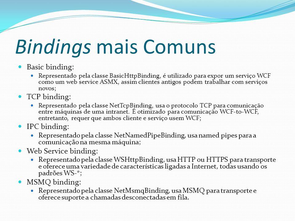 Bindings mais Comuns Basic binding: Representado pela classe BasicHttpBinding, é utilizado para expor um serviço WCF como um web service ASMX, assim c
