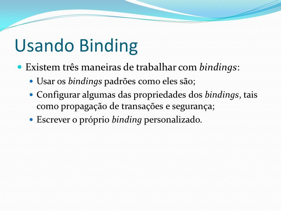 Usando Binding Existem três maneiras de trabalhar com bindings: Usar os bindings padrões como eles são; Configurar algumas das propriedades dos bindin
