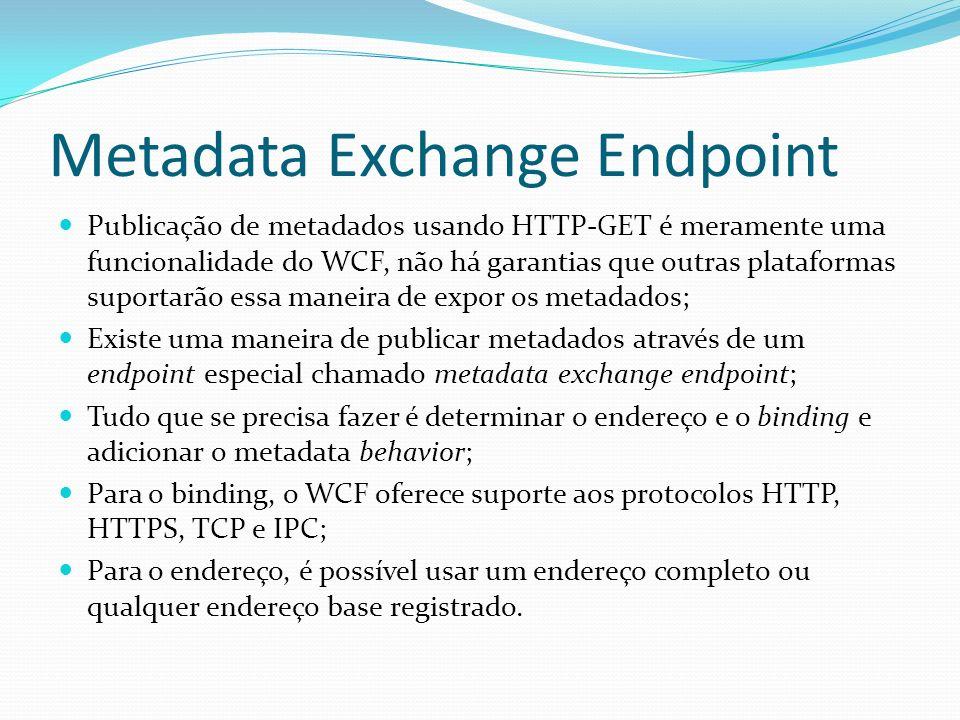 Metadata Exchange Endpoint Publicação de metadados usando HTTP-GET é meramente uma funcionalidade do WCF, não há garantias que outras plataformas supo