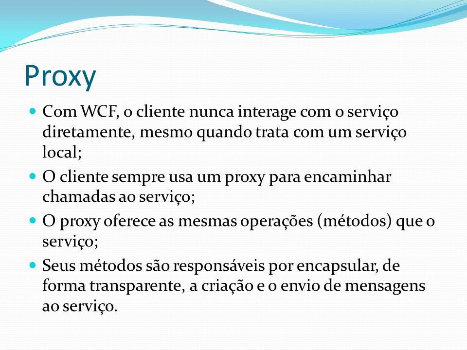 Proxy Com WCF, o cliente nunca interage com o serviço diretamente, mesmo quando trata com um serviço local; O cliente sempre usa um proxy para encamin