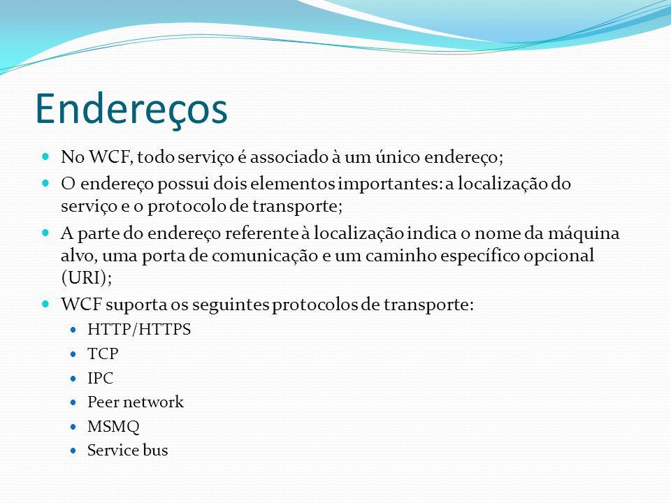 Endereços No WCF, todo serviço é associado à um único endereço; O endereço possui dois elementos importantes: a localização do serviço e o protocolo d