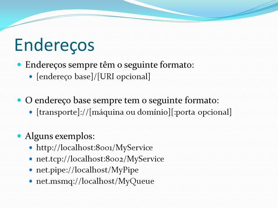 Endereços Endereços sempre têm o seguinte formato: [endereço base]/[URI opcional] O endereço base sempre tem o seguinte formato: [transporte]://[máqui