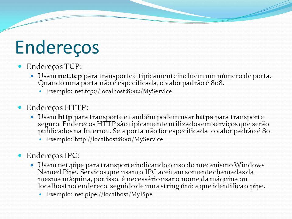 Endereços Endereços TCP: Usam net.tcp para transporte e tipicamente incluem um número de porta. Quando uma porta não é especificada, o valor padrão é