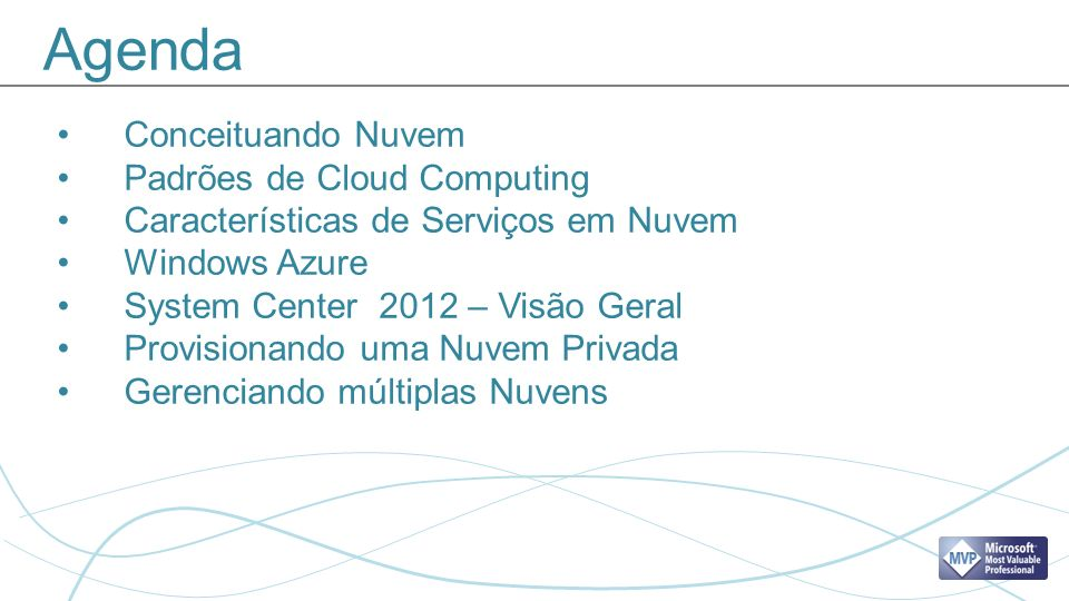 Agenda Conceituando Nuvem Padrões de Cloud Computing Características de Serviços em Nuvem Windows Azure System Center 2012 – Visão Geral Provisionando uma Nuvem Privada Gerenciando múltiplas Nuvens