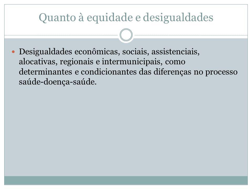 Quanto à equidade e desigualdades Desigualdades econômicas, sociais, assistenciais, alocativas, regionais e intermunicipais, como determinantes e cond