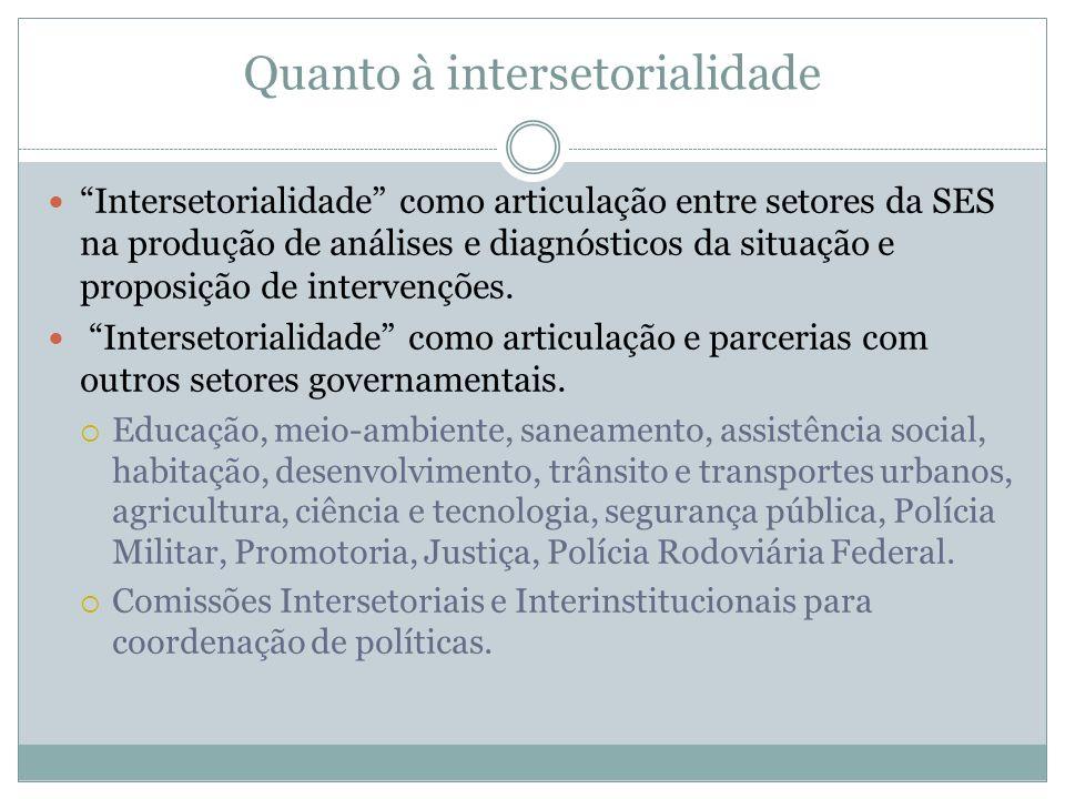Quanto à intersetorialidade Intersetorialidade como articulação entre setores da SES na produção de análises e diagnósticos da situação e proposição d