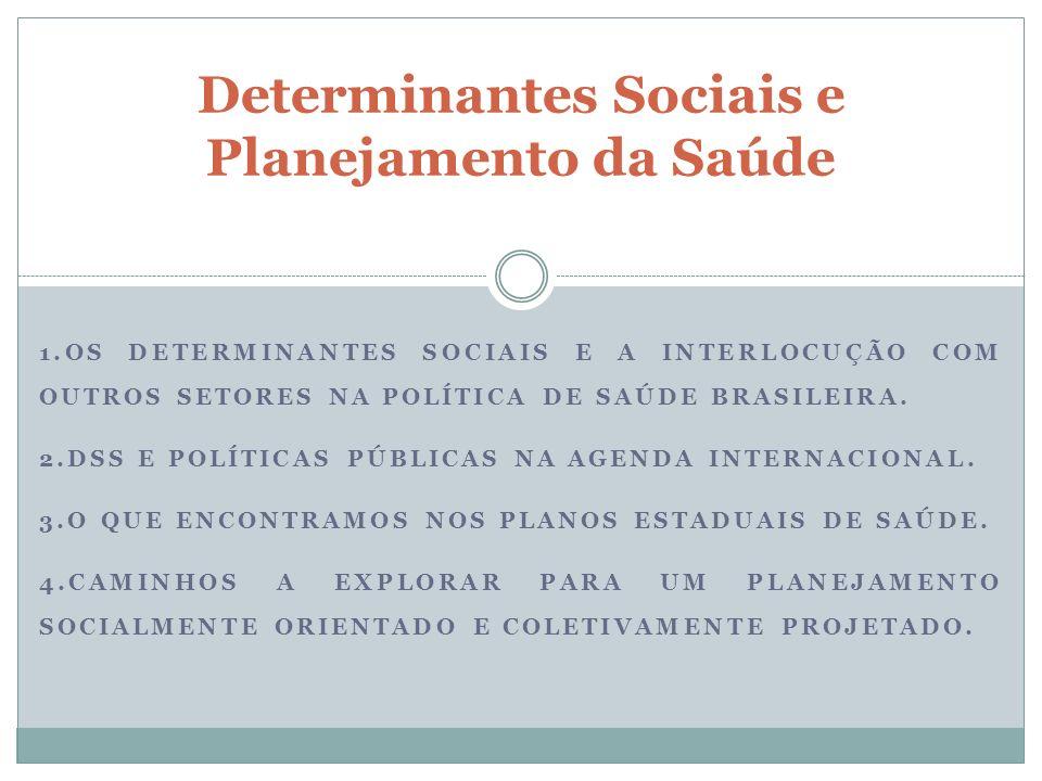 1.OS DETERMINANTES SOCIAIS E A INTERLOCUÇÃO COM OUTROS SETORES NA POLÍTICA DE SAÚDE BRASILEIRA. 2.DSS E POLÍTICAS PÚBLICAS NA AGENDA INTERNACIONAL. 3.
