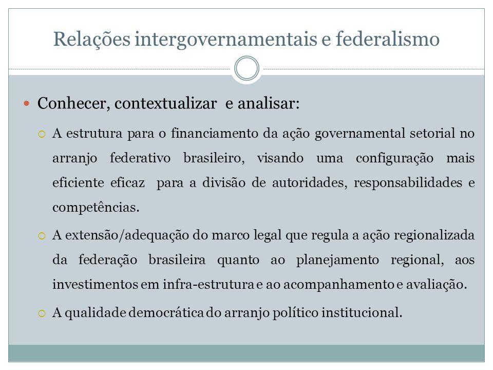 Relações intergovernamentais e federalismo Conhecer, contextualizar e analisar: A estrutura para o financiamento da ação governamental setorial no arr