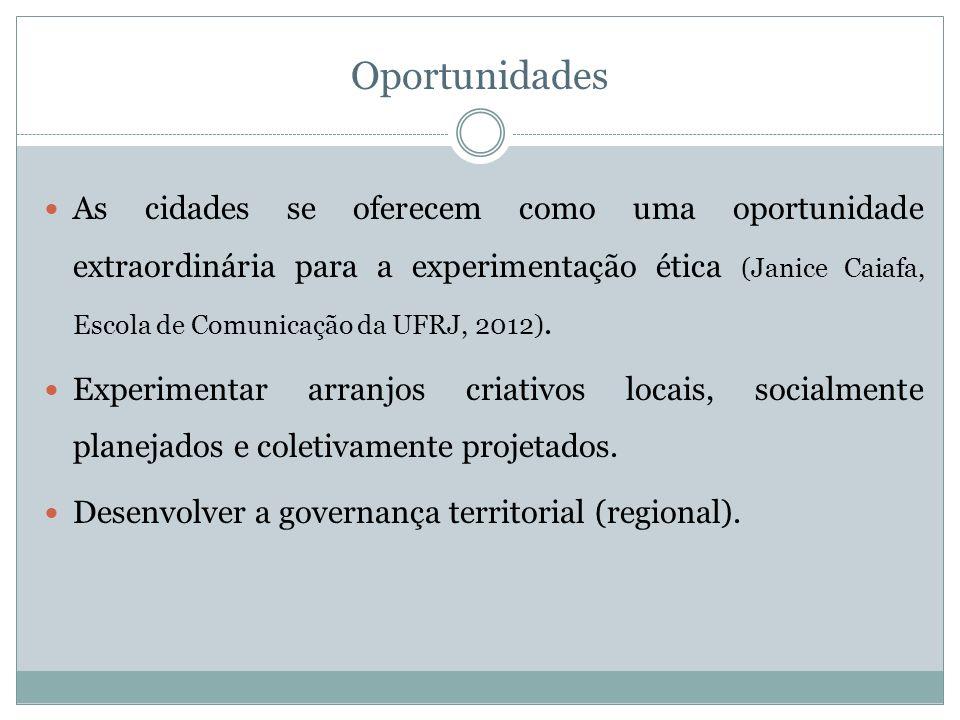 Oportunidades As cidades se oferecem como uma oportunidade extraordinária para a experimentação ética (Janice Caiafa, Escola de Comunicação da UFRJ, 2