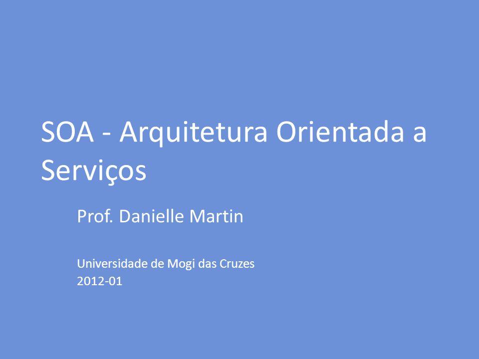 SOA - Arquitetura Orientada a Serviços Prof. Danielle Martin Universidade de Mogi das Cruzes 2012-01