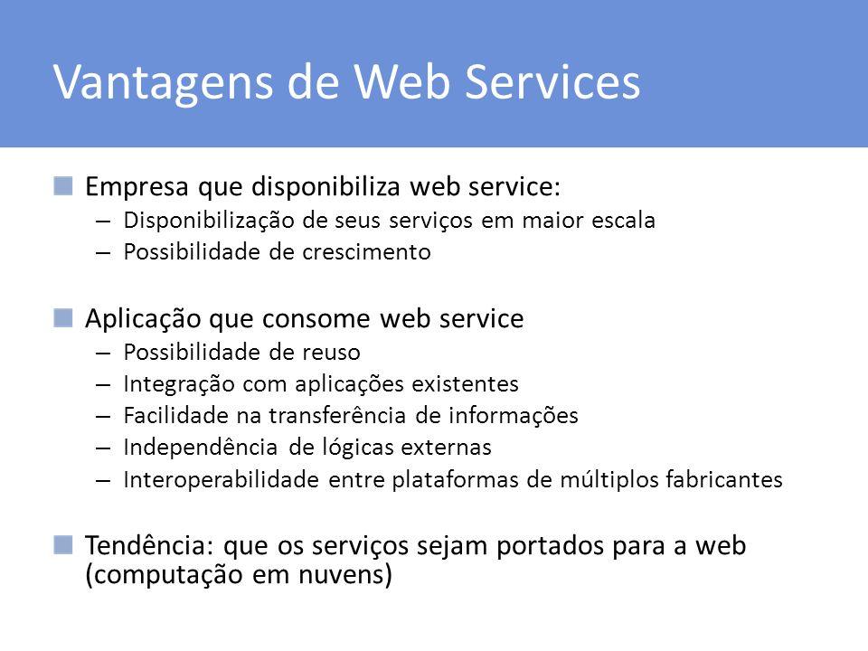 Vantagens de Web Services Empresa que disponibiliza web service: – Disponibilização de seus serviços em maior escala – Possibilidade de crescimento Ap