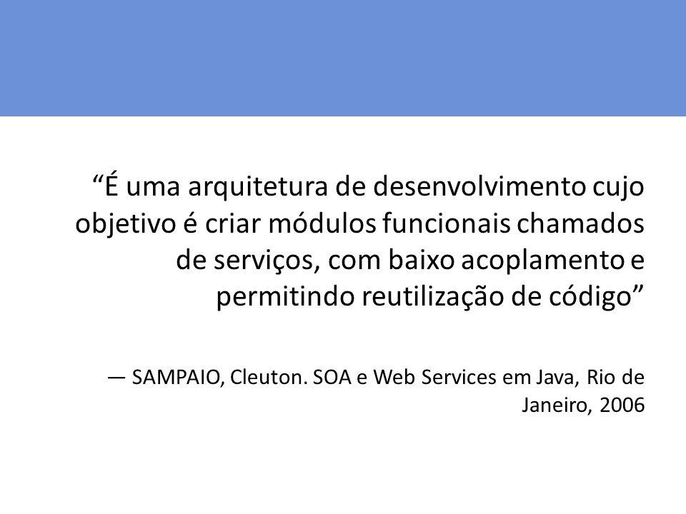É uma arquitetura de desenvolvimento cujo objetivo é criar módulos funcionais chamados de serviços, com baixo acoplamento e permitindo reutilização de