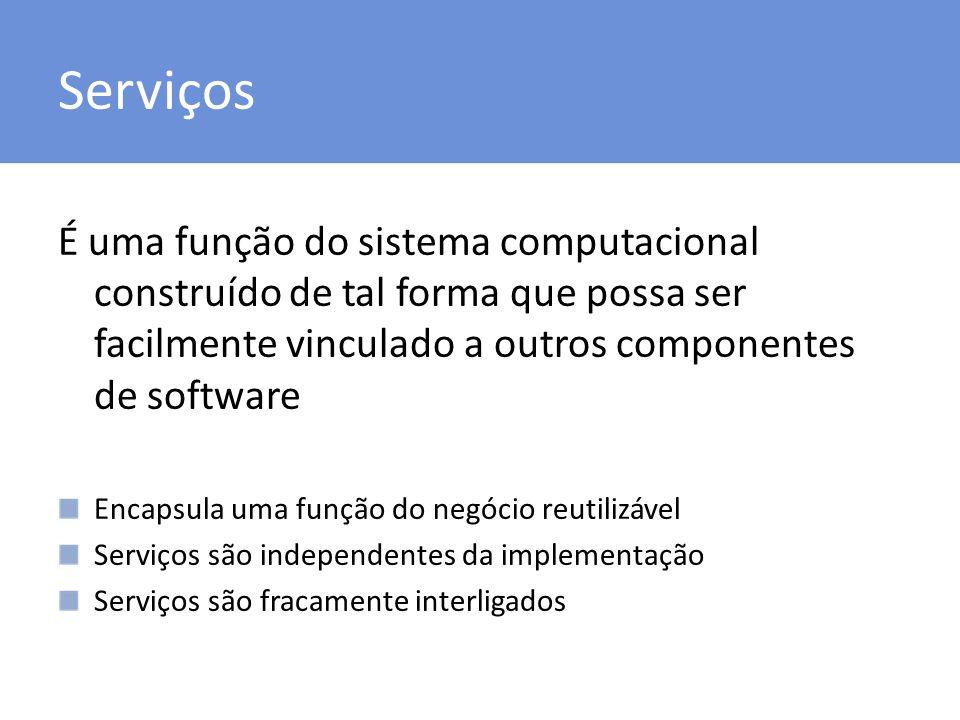 Serviços É uma função do sistema computacional construído de tal forma que possa ser facilmente vinculado a outros componentes de software Encapsula u