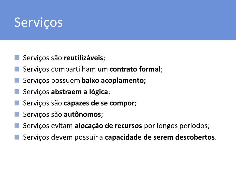 Serviços Serviços são reutilizáveis; Serviços compartilham um contrato formal; Serviços possuem baixo acoplamento; Serviços abstraem a lógica; Serviço