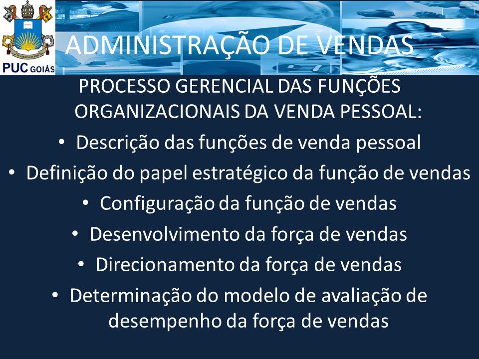 ADMINISTRAÇÃO DE VENDAS PROCESSO GERENCIAL DAS FUNÇÕES ORGANIZACIONAIS DA VENDA PESSOAL: Descrição das funções de venda pessoal Definição do papel est