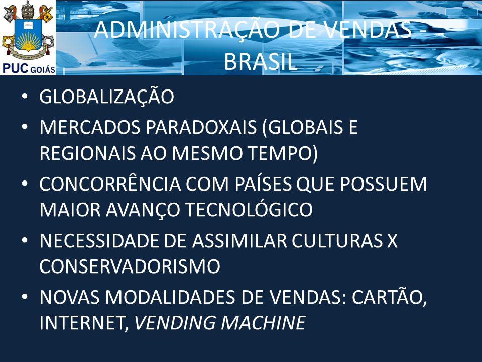 ADMINISTRAÇÃO DE VENDAS - BRASIL GLOBALIZAÇÃO MERCADOS PARADOXAIS (GLOBAIS E REGIONAIS AO MESMO TEMPO) CONCORRÊNCIA COM PAÍSES QUE POSSUEM MAIOR AVANÇ