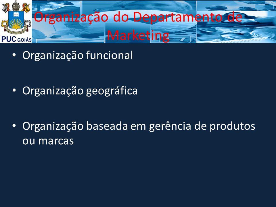 Organização do Departamento de Marketing Organização funcional Organização geográfica Organização baseada em gerência de produtos ou marcas