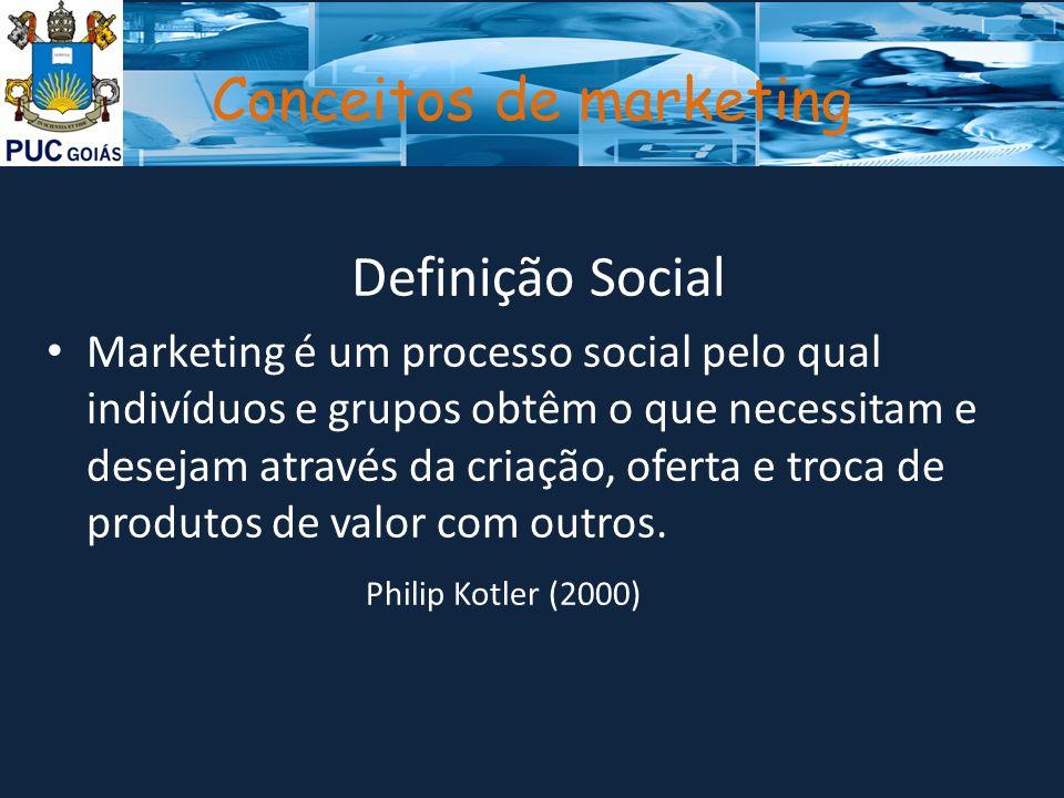 Conceitos de marketing Definição Social Marketing é um processo social pelo qual indivíduos e grupos obtêm o que necessitam e desejam através da criaç
