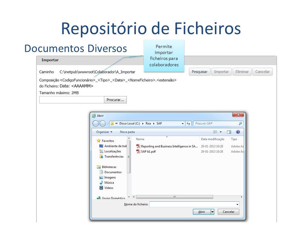 Repositório de Ficheiros Documentos Diversos Permite Importar ficheiros para colaboradores