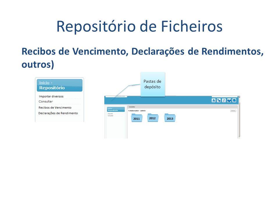 Repositório de Ficheiros Recibos de Vencimento, Declarações de Rendimentos, outros) Pastas de depósito