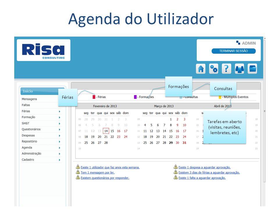Agenda do Utilizador Consultas Férias Formações Tarefas em aberto (visitas, reuniões, lembretes, etc)