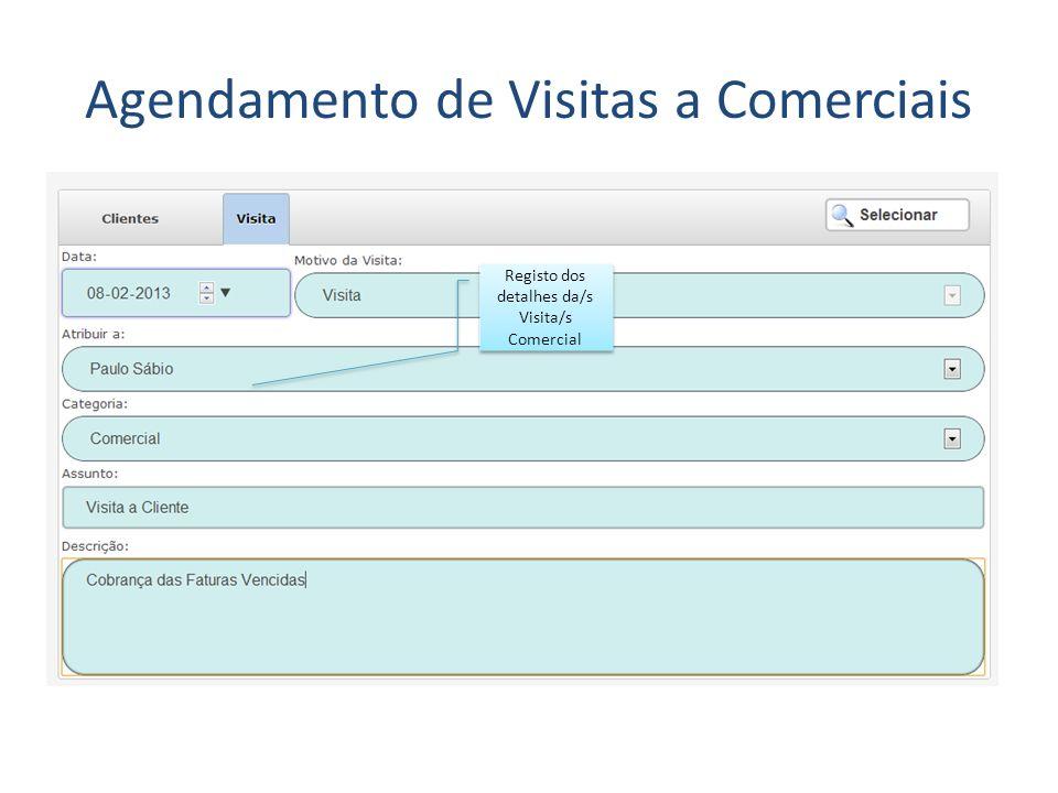 Agendamento de Visitas a Comerciais Registo dos detalhes da/s Visita/s Comercial