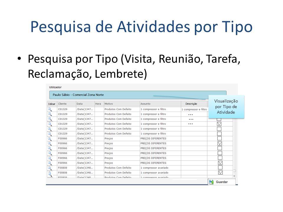 Pesquisa de Atividades por Tipo Visualização por Tipo de Atividade Pesquisa por Tipo (Visita, Reunião, Tarefa, Reclamação, Lembrete)