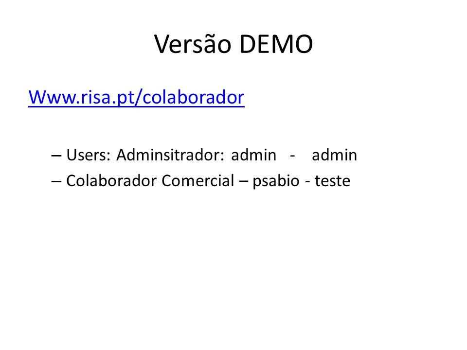 Versão DEMO Www.risa.pt/colaborador – Users: Adminsitrador: admin - admin – Colaborador Comercial – psabio - teste