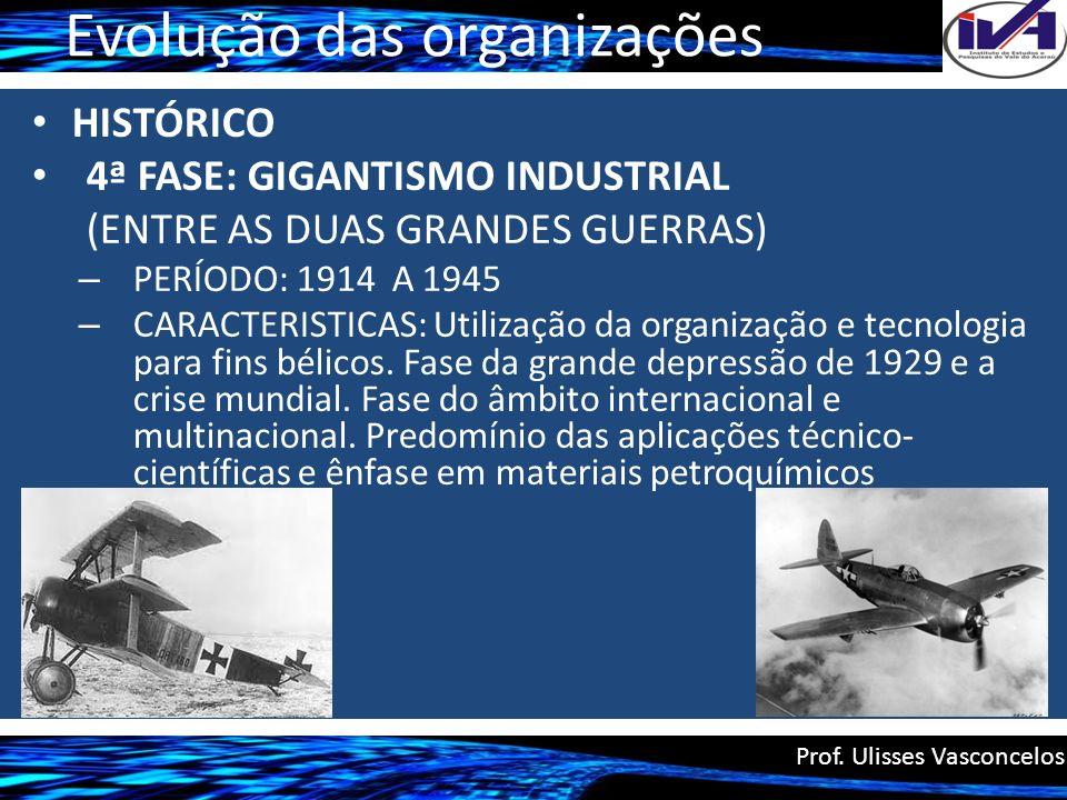 Evolução das organizações HISTÓRICO 4ª FASE: GIGANTISMO INDUSTRIAL (ENTRE AS DUAS GRANDES GUERRAS) – PERÍODO: 1914 A 1945 – CARACTERISTICAS: Utilizaçã